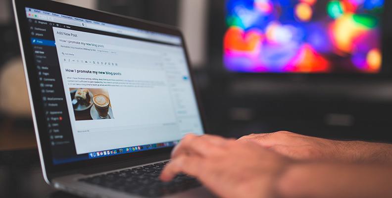 Persona trabajando con WordPress