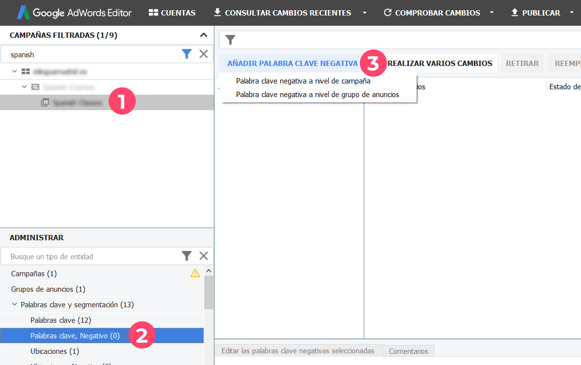 Interfaz de Google Ads Editor