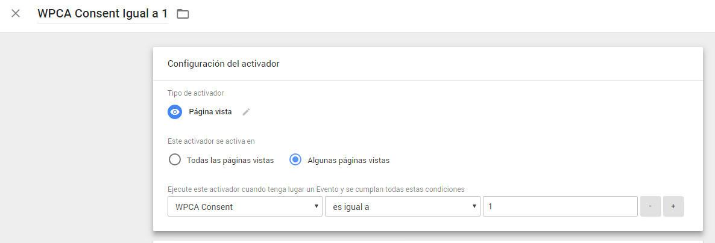Configuración de activador Google Tag Manager