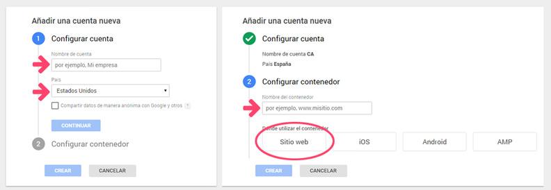 Creando una cuenta de Google Tag Manager