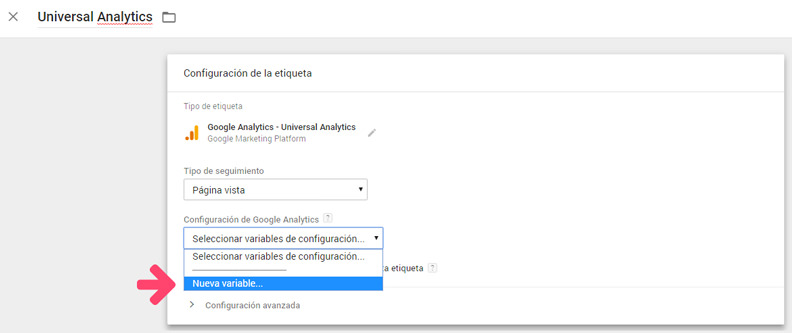 Variable de Universal Analytics