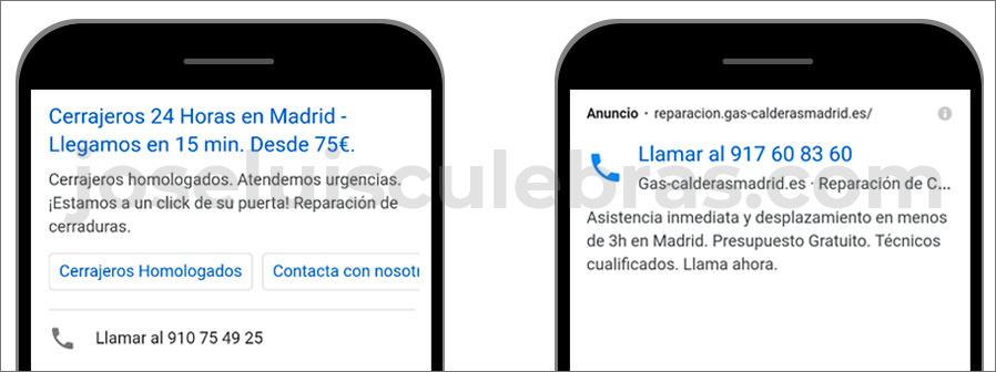 Diferencias entre anuncio de solo llamada y anuncio de texto con extensión de llamada